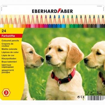 Creioane Colorate 24 Culori Cutie Metal Eberhard Faber