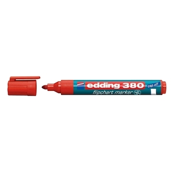Marker Edding 380 pentru flipchart, varf rotund, 1.5-3 mm, rosu