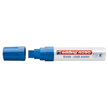 Marker pentru sticla Edding 4090, creta lichida pe baza de apa, varf retezat, 4-15 mm, albastru