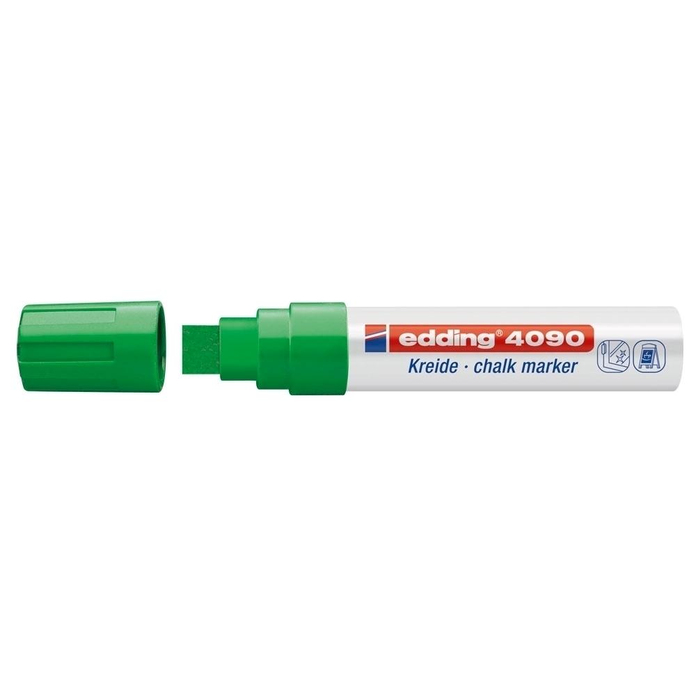 Marker pentru sticla Edding 4090, creta lichida pe baza de apa, varf retezat, 4-15 mm, verde
