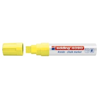 Marker pentru sticla Edding 4090, creta lichida pe baza de apa,varf retezat, 4-15 mm, galben