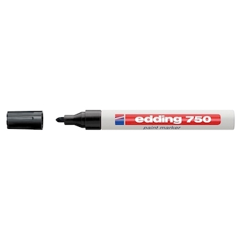Marker permanent Edding 750, cu vopsea, corp metalic, varf rotund, 2-2-4 mm, negru