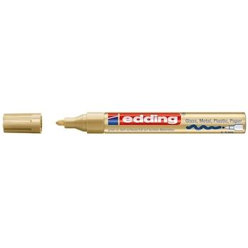 Marker permanent Edding 750, cu vopsea, corp metalic, varf rotund, 2-2-4 mm, auriu