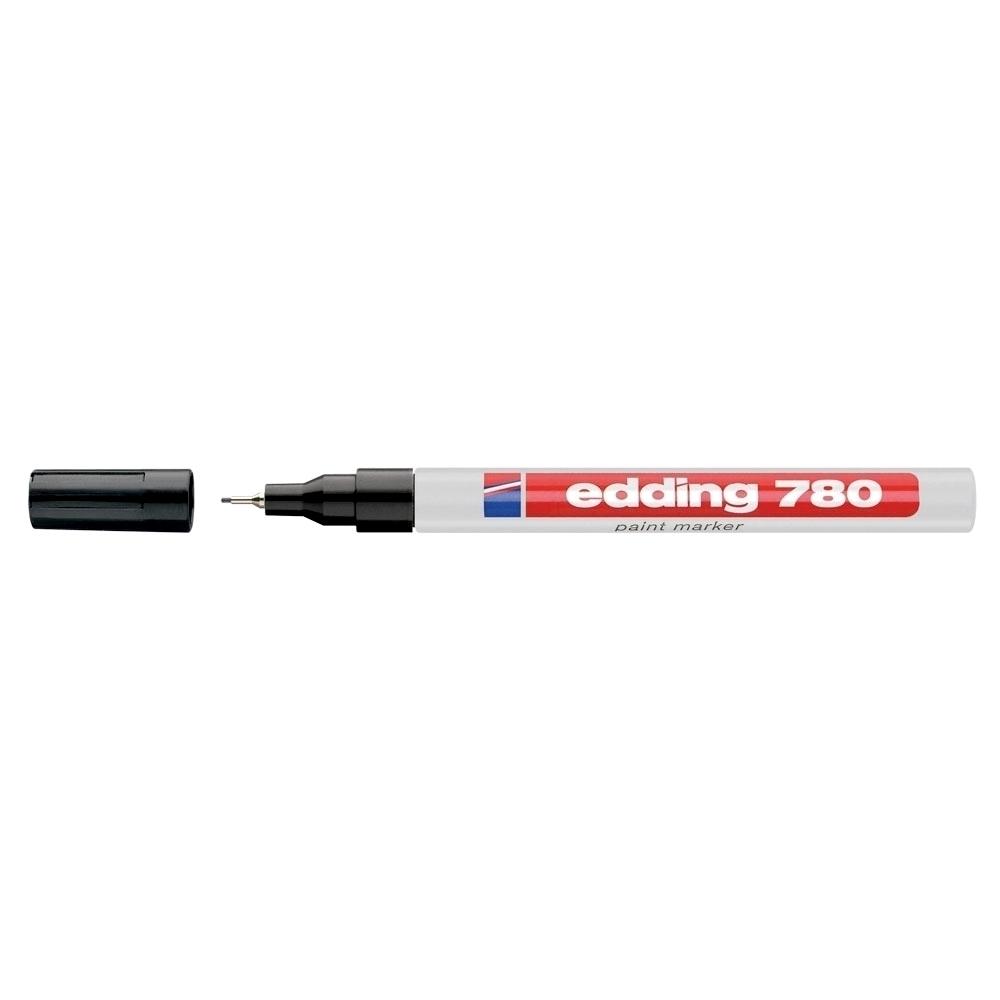 Marker permanent, Edding 780, cu vopsea, corp aluminiu, varf rotund, 0.8 mm, negru
