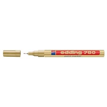 Marker permanent, Edding 780, cu vopsea, corp aluminiu, varf rotund, 0.8 mm, auriu