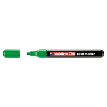 Marker permanent Edding 790, cu vopsea, corp plastic, varf rotund, 2-3 mm, verde