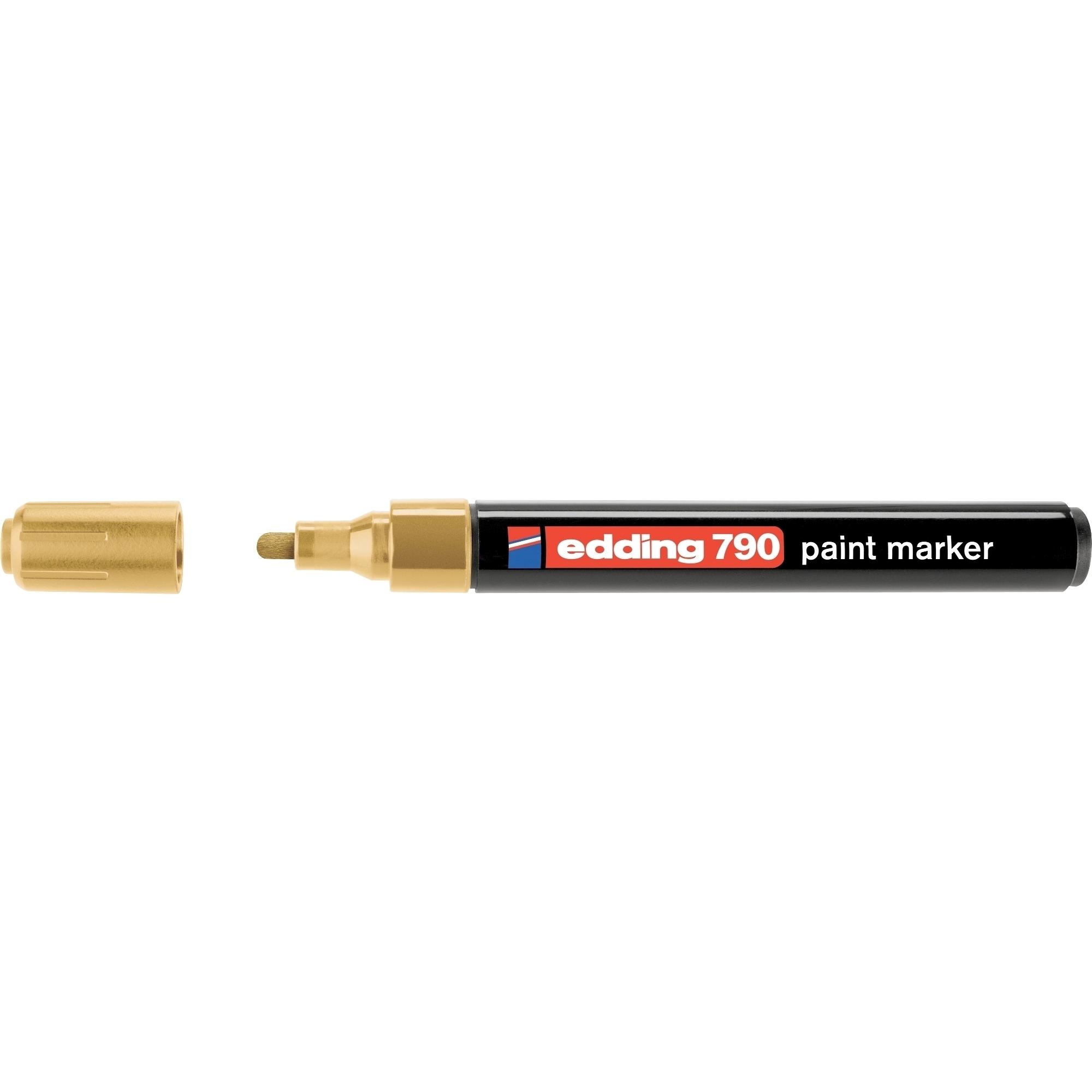 Marker permanent Edding 790, cu vopsea, corp plastic, varf rotund, 2-3 mm, auriu