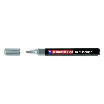 Marker permanent Edding 790, cu vopsea, corp plastic, varf rotund, 2-3 mm, argintiu