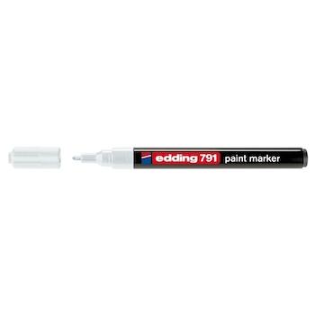 Marker permanent Edding 791, cu vopsea, corp plastic, varf rotund , 1-2 mm, alb