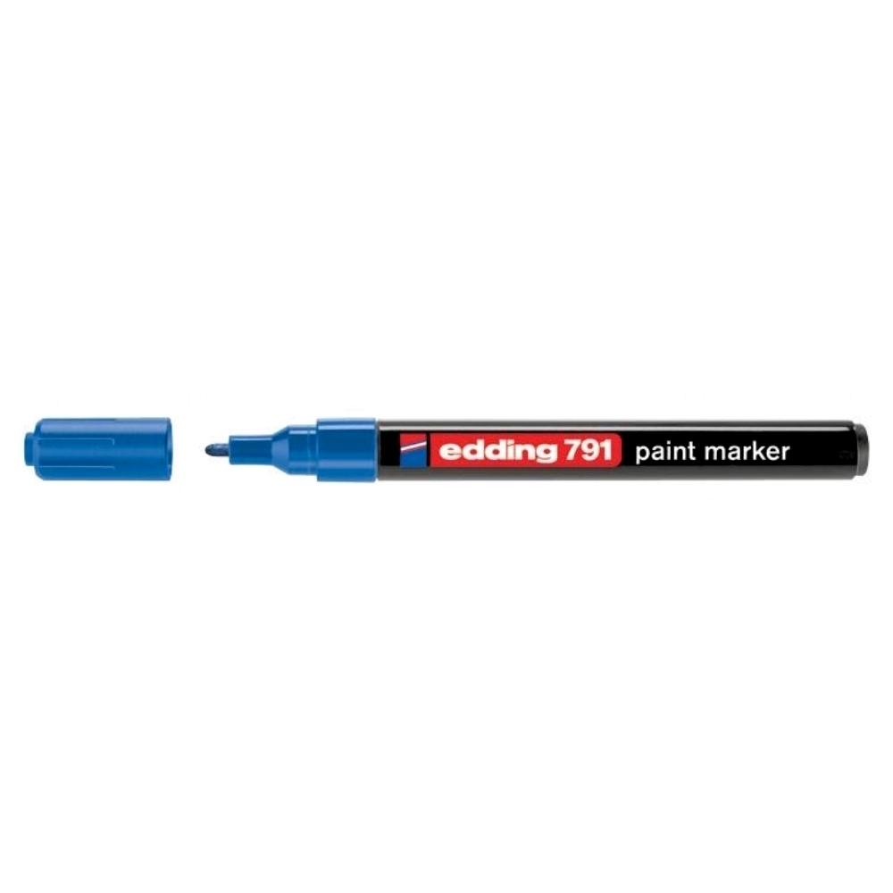 Marker permanent Edding 791, cu vopsea, corp plastic, varf rotund , 1-2 mm, albastru
