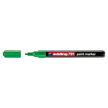 Marker permanent Edding 791, cu vopsea, corp plastic, varf rotund , 1-2 mm, verde