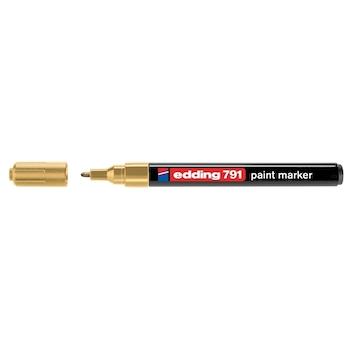 Marker permanent Edding 791, cu vopsea, corp plastic, varf rotund , 1-2 mm, auriu