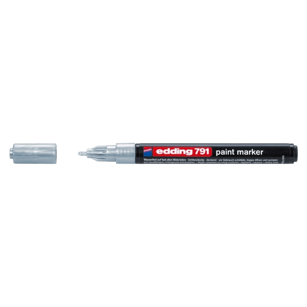 Marker permanent Edding 791, cu vopsea, corp plastic, varf rotund , 1-2 mm, argintiu