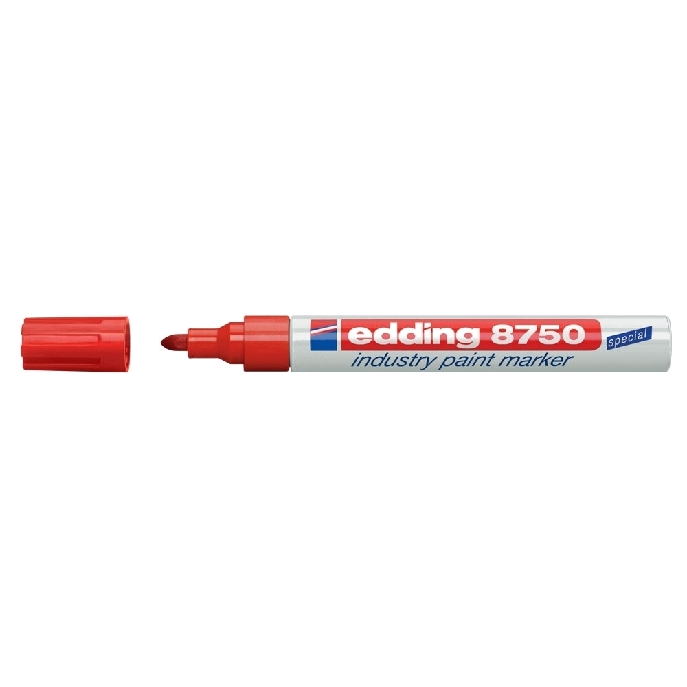 Marker permanent Edding 8750, cu vopsea, corp aluminiu, varf rotund, 2-4 mm, rosu
