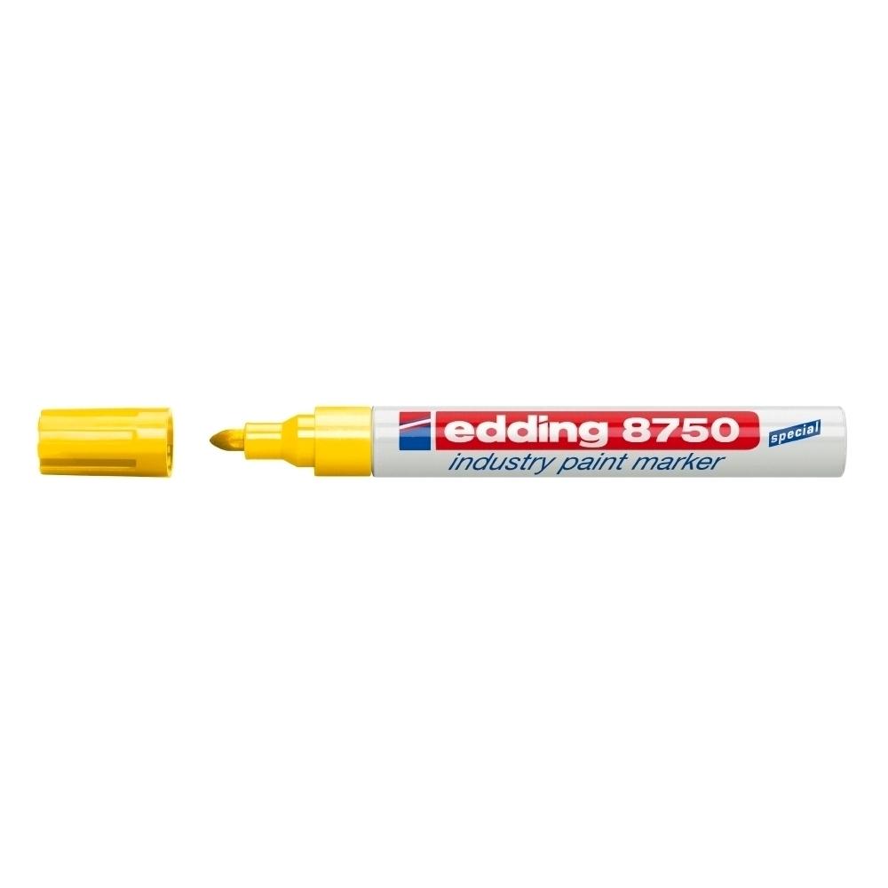 Marker permanent Edding 8750, cu vopsea, corp aluminiu, varf rotund, 2-4 mm, galben