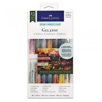 Set 12 Pasteluri Solubile Gelatos si 3 Accesorii Culori Translucide Faber-Castell