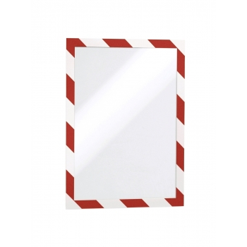 Display magnetic Durable Duraframe Security, A4, alb/rosu, 2 bucati/set