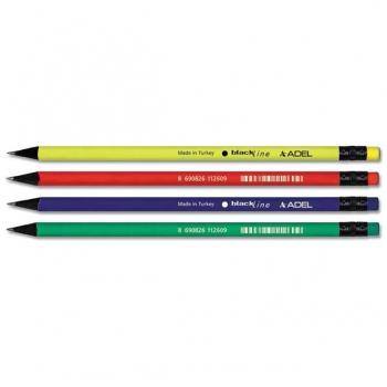 Creion Grafit HB Cu Guma Lemn Negru Culori Mate Adel