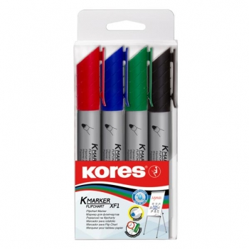 Marker Flipchart Set 4 buc 3mm Kores