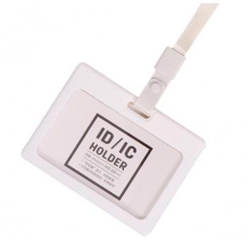 Ecuson Orizontal Silicon Cu Capsa Si Snur Pentru Carduri 90x54mm Alb Deli