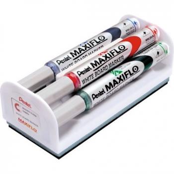 Set Maxiflo pentru tabla, format din 4 markere asortate + burete magnetic