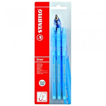 Pix Stabilo Liner 808, varf 0.3 mm, albastru, 3 culori/blister