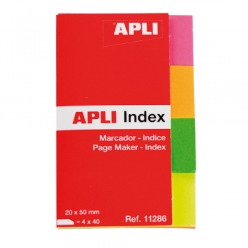 Index Apli, autoadeziv, hartie,  20 x 50 mm, 4 culori x 40 file