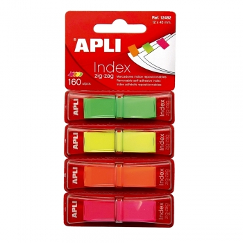 Index Apli ,autoadeziv zig-zag,  12 x 45 mm, 4 culori fluorescente (verde, galben, portocaliu, roz)