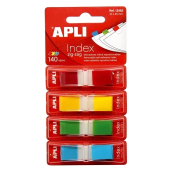 Index Apli ,autoadeziv zig-zag,  12 x 45 mm, 4 culori mate (rosu, galben, verde, albastru)