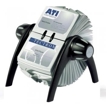 Visifix Flip Durable, rotativ, 400 carti de vizita, negru