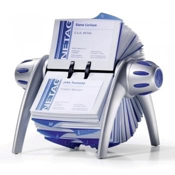 Visifix Flip Durable, rotativ, 400 carti de vizita, argintiu
