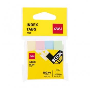 Index Adeziv Hartie 12x50mm 4 Culori 100 File Deli