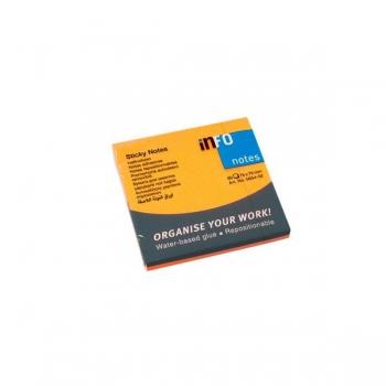 Notes Adeziv 75x75mm Portocaliu Neon 80 File Global Notes