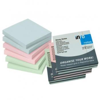 Notes Adeziv 75x75mm Pastel Asortat 100 File Info Notes