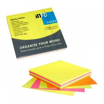 Notes Adeziv 75x75mm 4 Culori Neon 320 File Info Notes