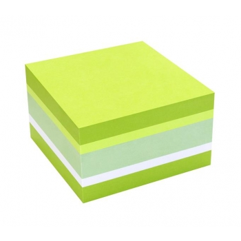 Notes Adeziv 75x75mm Verde Pal si Neon - Alb 450 File Global Notes