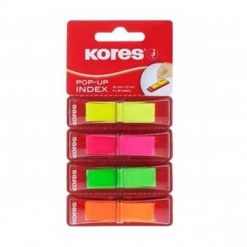 Index Plastic 12x45mm 4 Culori 40 File Kores