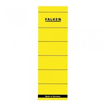 Etichete Falken autoadezive, pentru bibliorafturi,  60 x 190 mm, galben