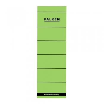 Etichete Falken autoadezive, pentru bibliorafturi,  60 x 190 mm, verde