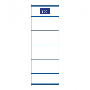 Etichete RTC din carton, pentru bibliorafturi,  45 x 142 mm, alb